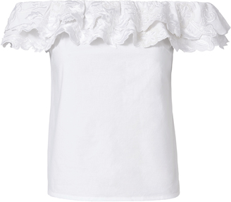 Exclusive for Intermix Izzie Embroidered Off Shoulder Top $265 thestylecure.com