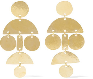 Annie Costello Brown - Mini Pom Pom Hammered Gold-plated Earrings - One size