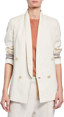 Brunello Cucinelli Linen Double-Breasted Striped Jacket