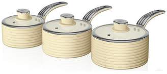 Swan Retro 3 Piece Pan Set - Cream