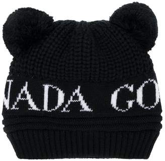 Canada Goose Kids logo intarsia knitted hat