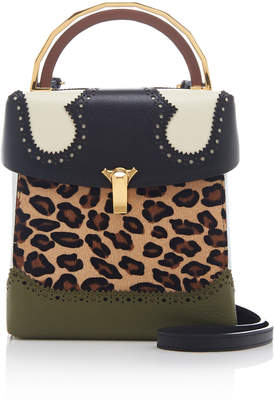THE VOLON Alice Lunch Box Leopard-Print Calf Hair and Leather Shoulder