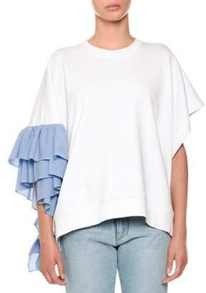 MSGM Asymmetric Ruffle-Sleeve Sweatshirt