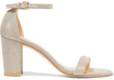 Stuart Weitzman - Nearlynude Textured-lamé Sandals - Gold