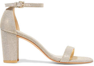Stuart Weitzman - Nearlynude Textured-lamé Sandals - Gold $400 thestylecure.com