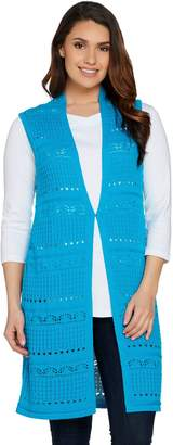 Joan Rivers Classics Collection Joan Rivers Crochet Open Front Long Vest