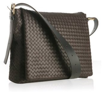 Bottega Veneta brown woven leather messenger bag