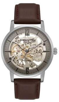 Kenneth Cole Auto Round Automatic Leather-Strap Watch