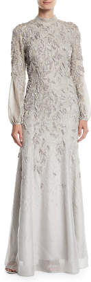 J. Mendel Long-Sleeve Mock-Neck Sequin-Embroidered Evening Gown