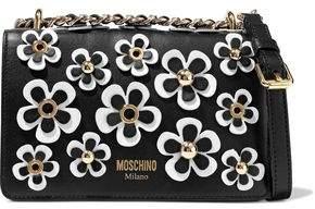 Moschino Floral-Appliquéd Leather Shoulder Bag