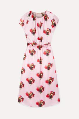 ADAM by Adam Lippes Ruffled Printed Hammered Silk-satin Midi Dress - Pink