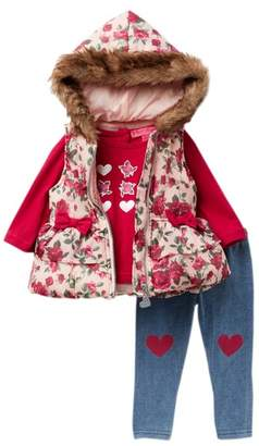 Betsey Johnson Graphic Tee, Faux Fur Trim Floral Puffer Vest, & Jegging Set (Baby Girls)