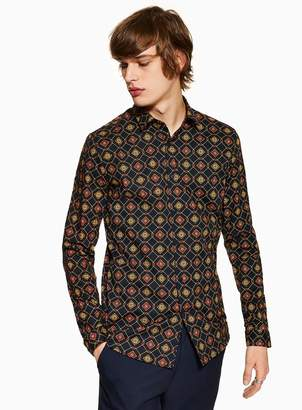 TopmanTopman Geometric Chain Stretch Skinny Shirt
