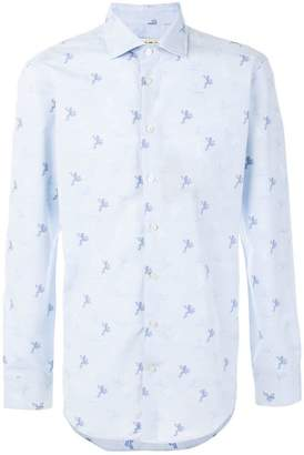 Etro frog print slim-fit shirt