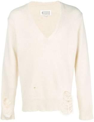 Maison Margiela V-neck distressed sweater