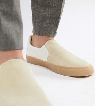 Asos Design DESIGN Wide Fit slip on plimsolls in real stone suede