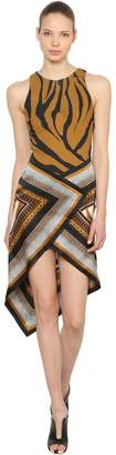 Roberto Cavalli Animalier Twill & Satin Scarf Dress