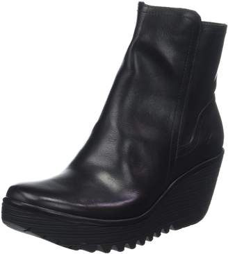 Fly London Womens Yeti Casual Fashion Winter Leather Wedge Ankle Boots - Black - 10