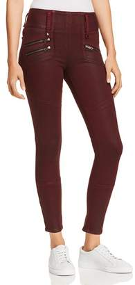 Hudson High Rise Moto Zip Skinny Jeans in Port Wax
