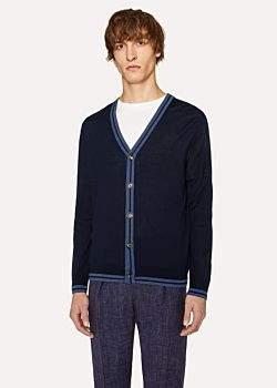 Paul Smith Men's Navy Merino Wool Cardigan With Contrast Trims