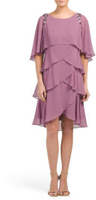 Petite Tiered Dress With Cape