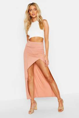boohoo Rouched Side Extreme Split Maxi