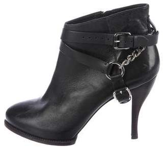 Alexander McQueen Leather Round-Toe Boots