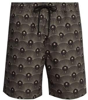 Saturdays NYC Timothy Art Deco Print Swim Shorts - Mens - Black Multi