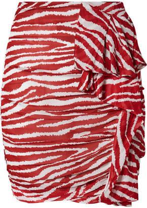 Etoile Isabel Marant Jerine Ruffled Zebra-print Chiffon Mini Skirt - Red