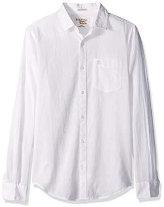Original Penguin Men's Long Sleeve Cotton Linen Chambray Shirt Withspade Pocket