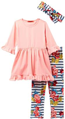 Funkyberry Solid Dress, Headband, & Printed Leggings Set (Toddler & Little Girls)