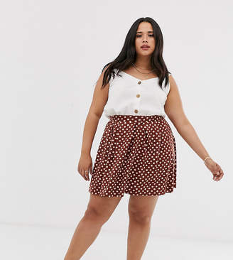 Asos DESIGN Curve mini skirt with box pleats in scribble polka dot