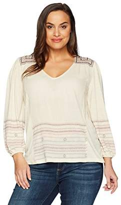 Lucky Brand Women's Size Plus Market Embroidered Peasant TOP