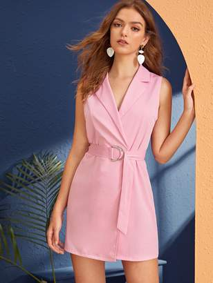 Shein Notched Collar D-ring Belted Wrap Blazer Dress