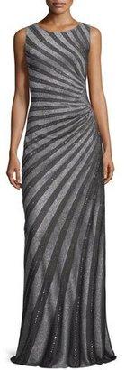 St. John Collection Sunburst Sequined Knit Gown, Gunmetal $3,995 thestylecure.com