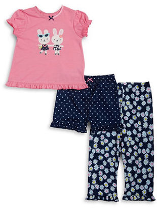 Little Me Bunny Tee, Shorts and Pants Pajama Set $26 thestylecure.com