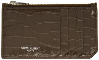 Saint Laurent Brown Five Fragments Card Holder