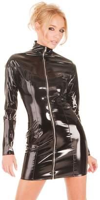 LAFIZZLE Plus Size Pvc Latex Catsuit Bodysuit Costume Dress Skirt for Women Sexy Lingeries