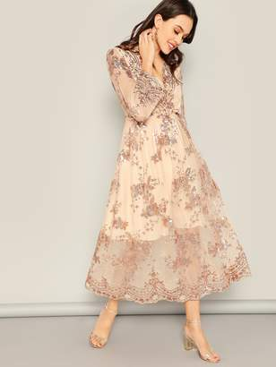 Shein Sequin Flower Surplice Mesh Blouson Midi Dress