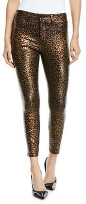 L'Agence Margot High-Rise Foil Cheetah-Print Skinny Jeans