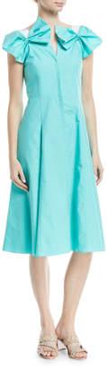 DELPOZO Poplin Bow-Shoulder Dress