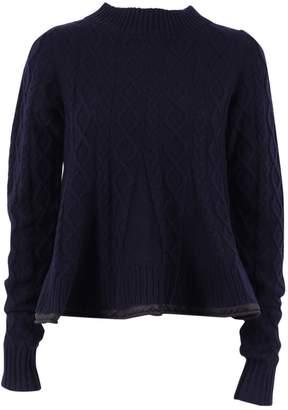 Sacai Luck Navy Wool Knitwear