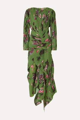 Preen by Thornton Bregazzi Ofira Asymmetric Floral-print Plissé-georgette Maxi Dress - Green