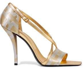 Roger Vivier Metallic Leather-Trimmed Jacquard Sandals