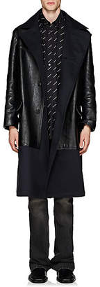 Balenciaga Men's Leather & Twill Trench Coat - Black