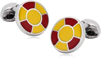 MoAndy Stainless Steel Cuff Links for Mens Round Enamel Geometry Pattern