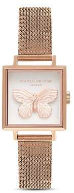 Olivia Burton 3-D Butterfly Square Watch, 22.5mm x 22.5mm