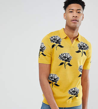 Asos DESIGN TALL Knitted Revere Collar Polo In Mustard With Floral Jacquard