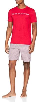 Tommy Hilfiger Men's Woven Short Set Ss Gingham Pyjama Tango Red 099, Large (Size: LG)