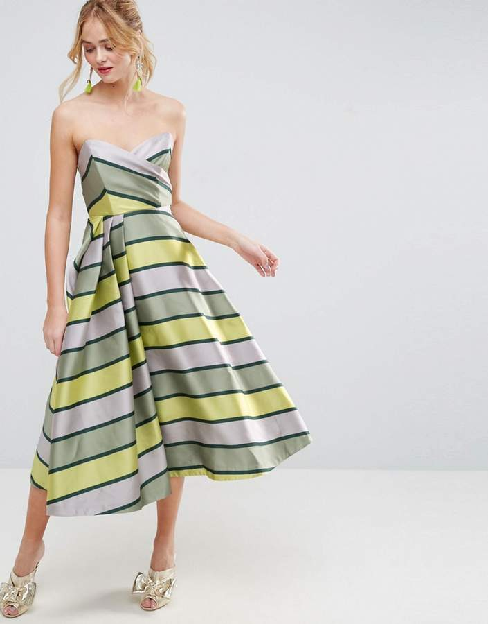 Asos ASOS SALON Bandeau Stripe Midi Prom Dress